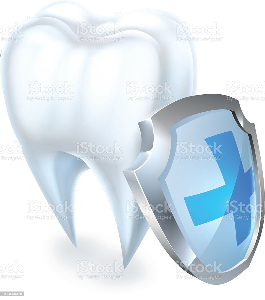 Tooth and Shield Protection Concept vector art illustration