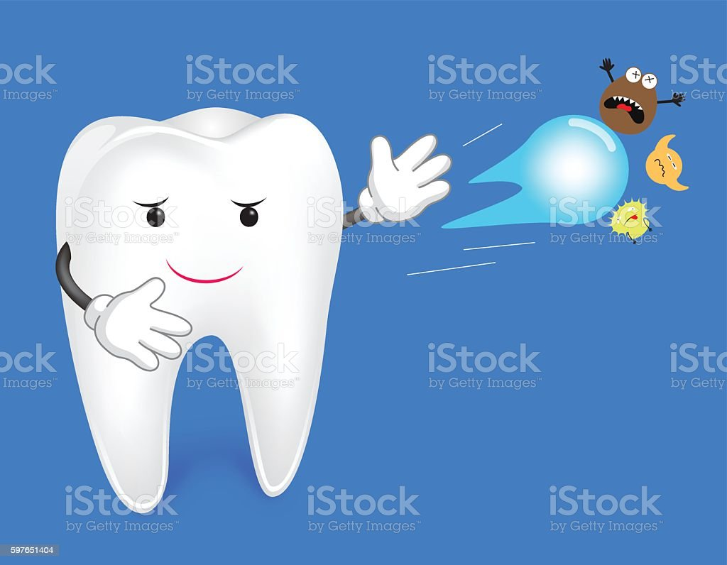 Tooth anti-bacterial vector art illustration