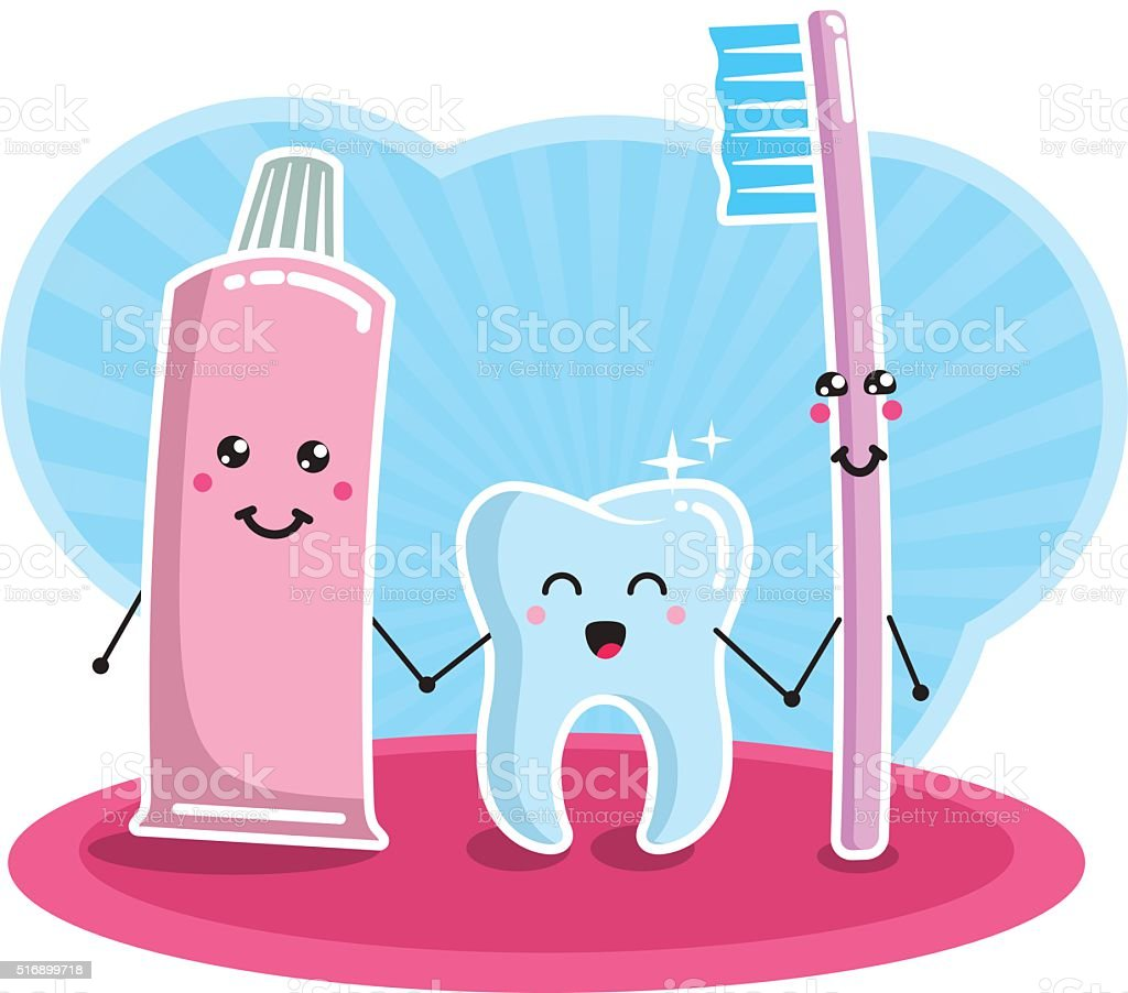 Tooth, brush and paste - best friends forever vector art illustration