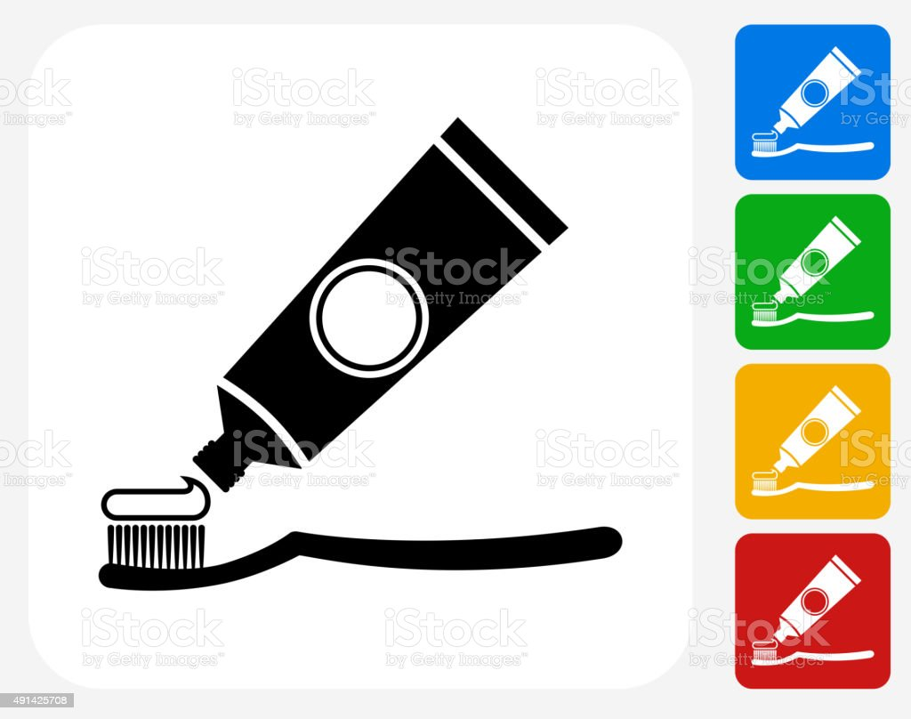 Tooth Brush and Paste Icon Flat Graphic Design vector art illustration