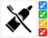 Tooth Brush and Paste Icon Flat Graphic Design