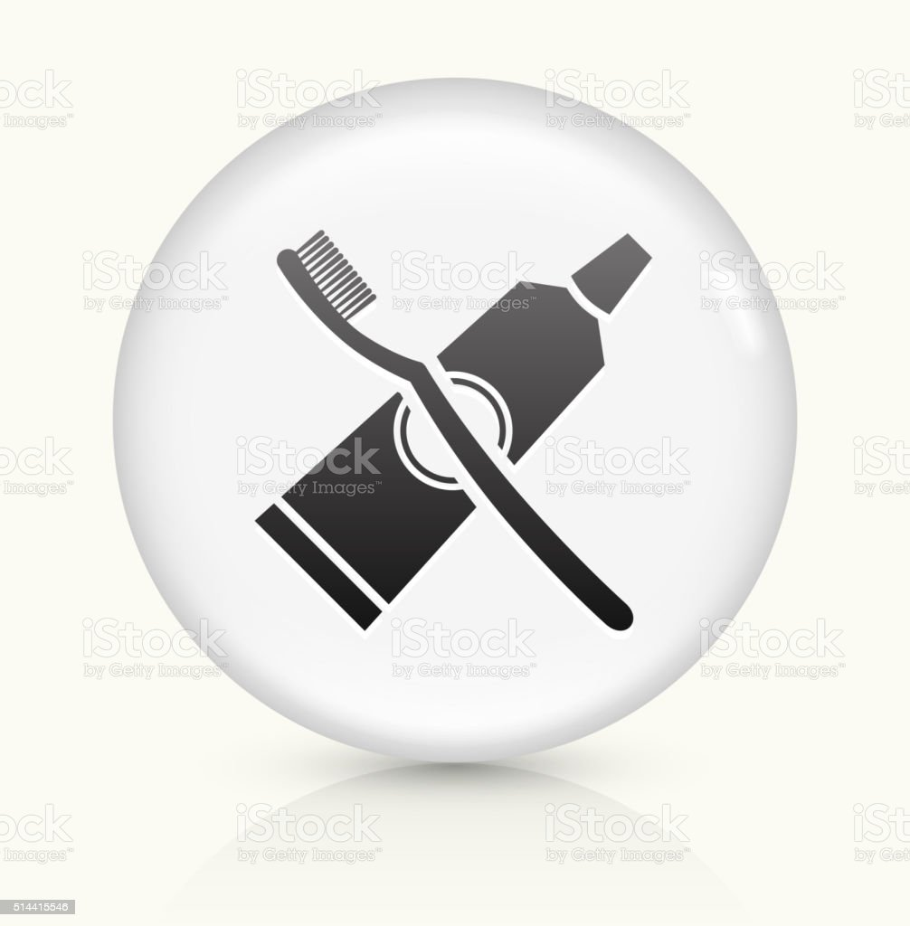 Tooth Brush and Paste icon on white round vector button vector art illustration