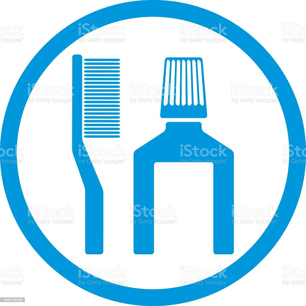 Tooth brush and paste vector icon isolated. vector art illustration