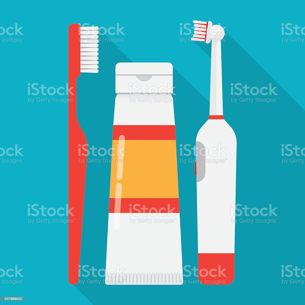 tooth brushes toothpaste and Electric Toothbrush vector art illustration