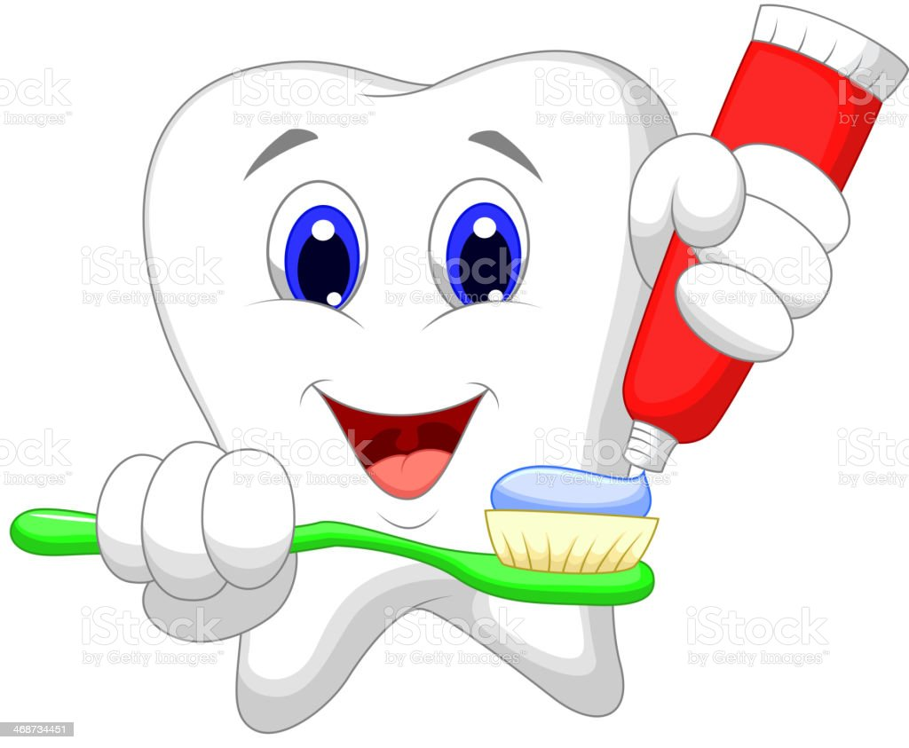 Tooth cartoon putting tooth paste on her toothbrush vector art illustration