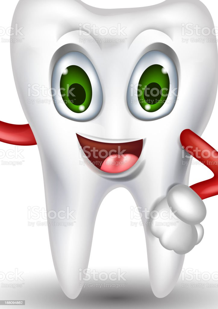 tooth cartoon thumb up for you design royalty-free stock vector art