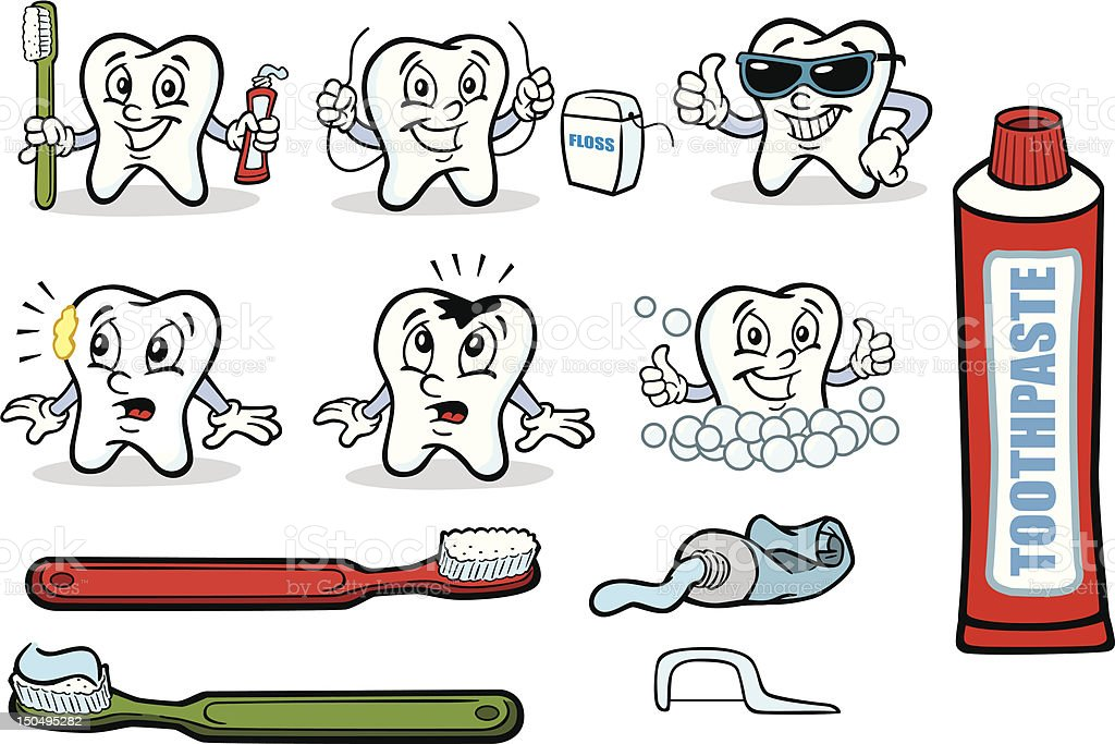 Tooth character cartoon emphasizes brushing royalty-free stock vector art