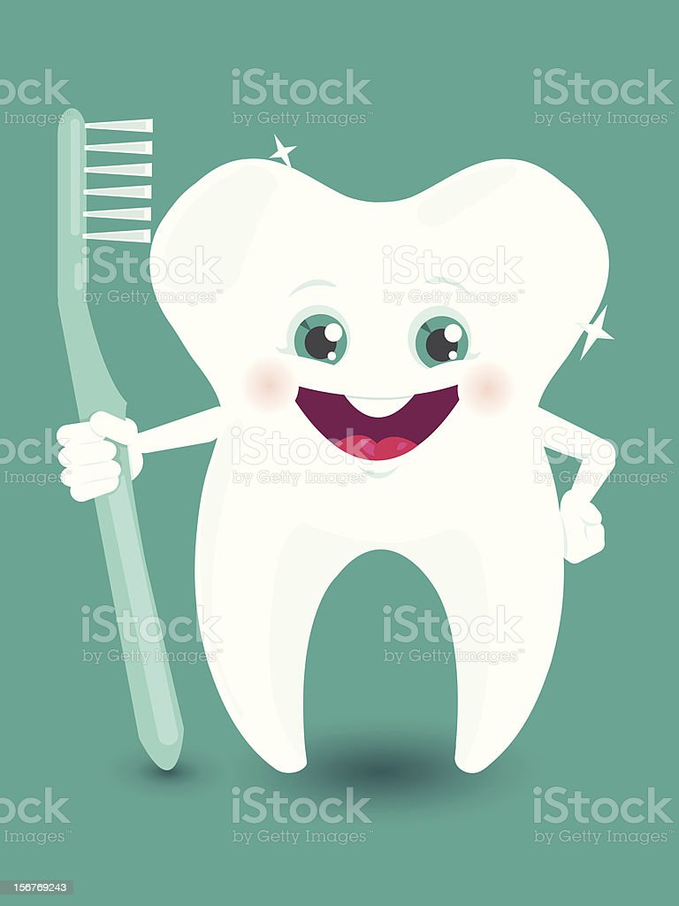 Tooth character holding toothbrush royalty-free stock vector art