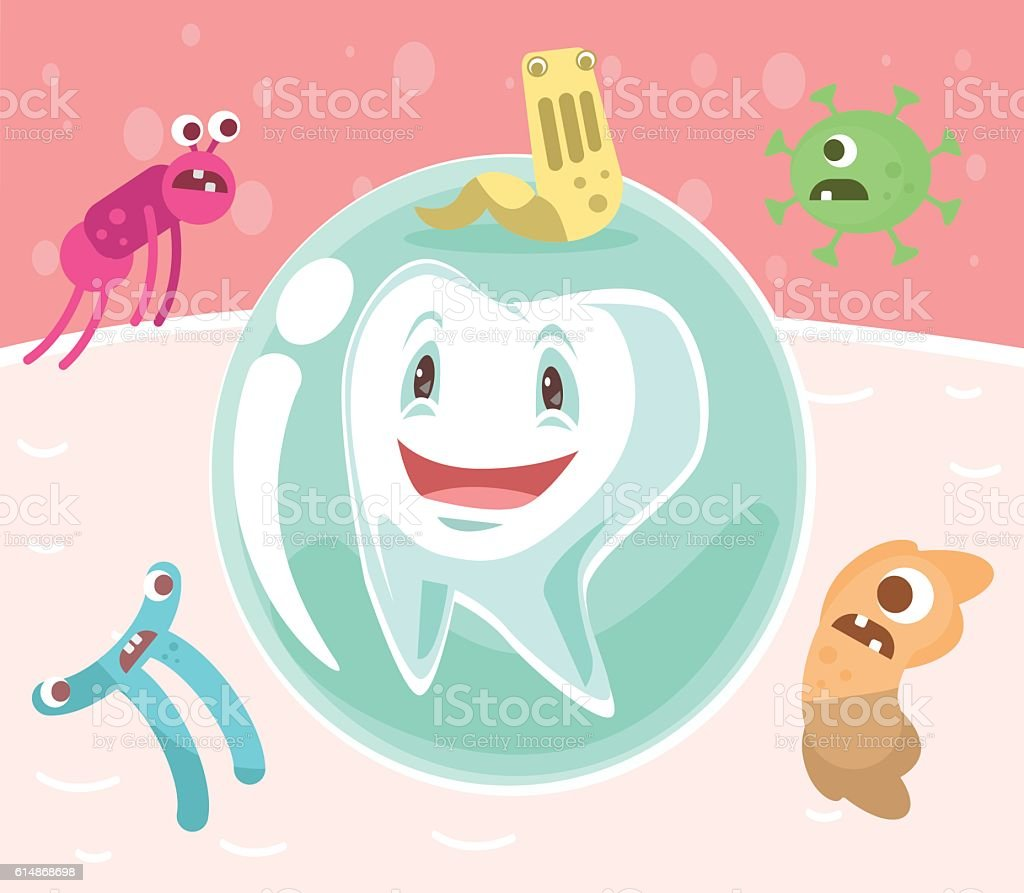 Tooth character in protective bubble. Germs characters attack vector art illustration