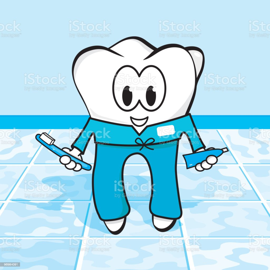 Tooth character in scrubs vector art illustration
