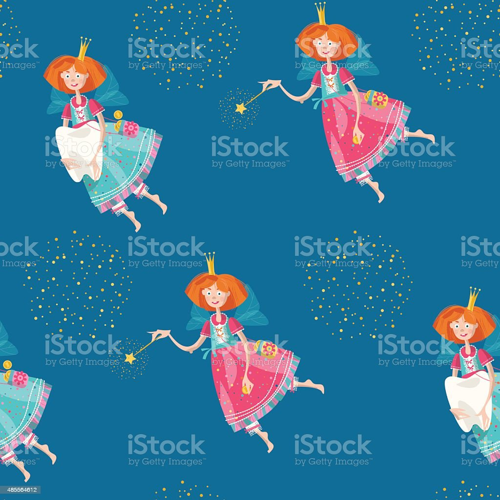 Tooth fairies holding teeth and magic wands. Seamless background pattern. vector art illustration
