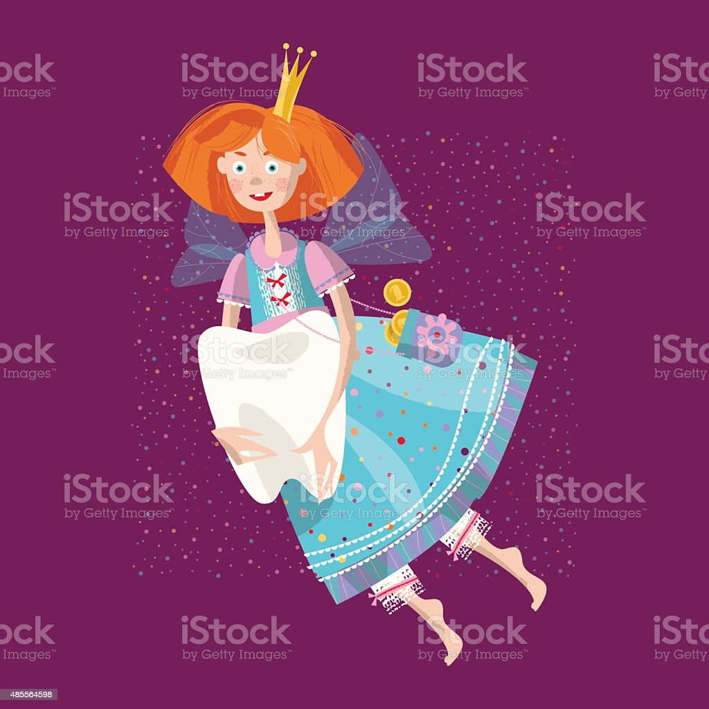 Tooth fairy flying with tooth. vector art illustration