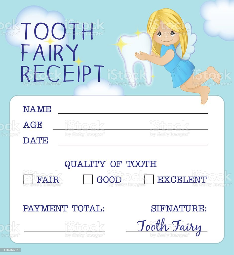 Tooth Fairy receipt certificate design vector art illustration