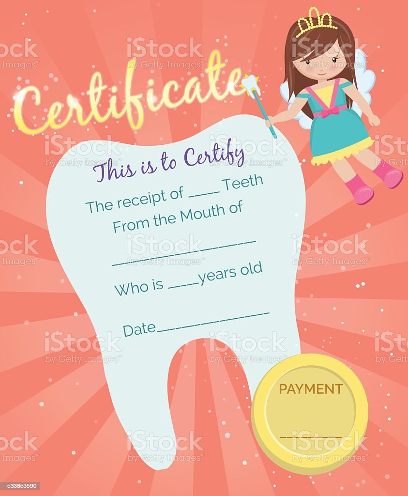Tooth Fairy receipt certificate template vector art illustration
