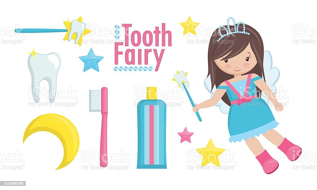 Tooth fairy with wand and a set of cute items vector art illustration