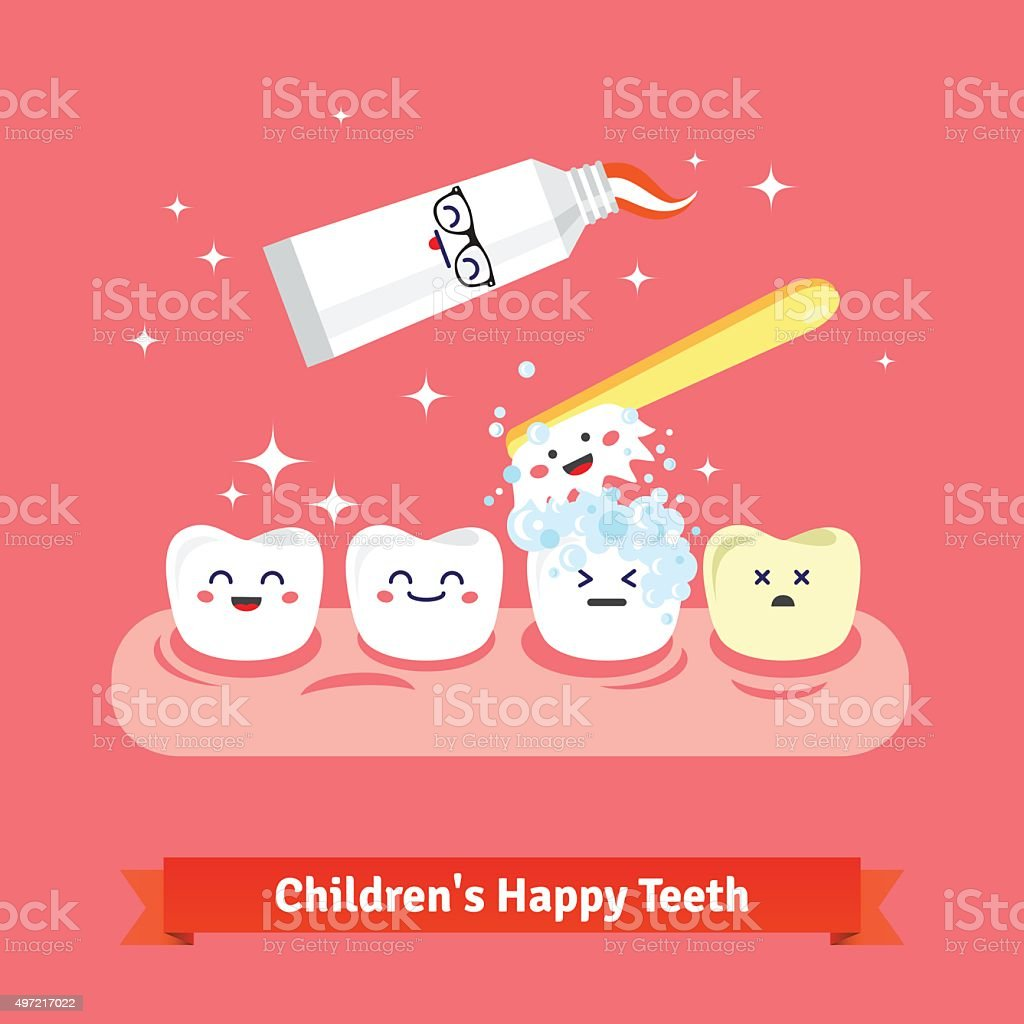 Tooth hygiene icon set vector art illustration