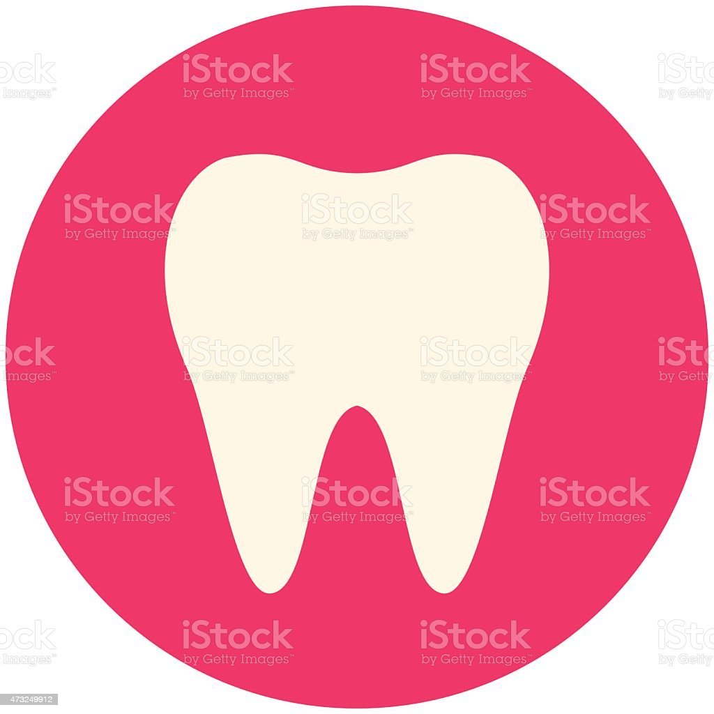 Tooth icon encased in pink circle vector art illustration