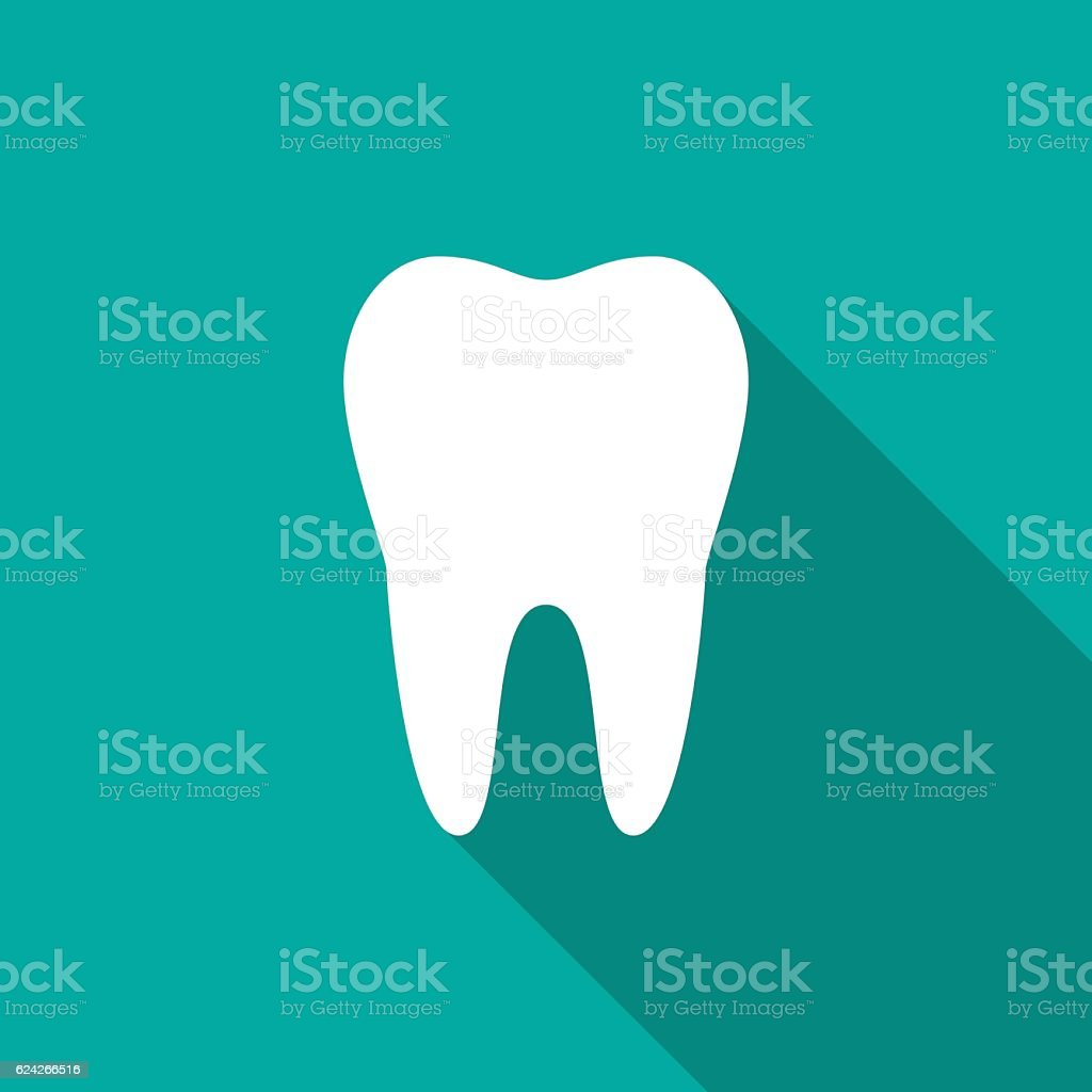 Tooth icon with long shadow. vector art illustration