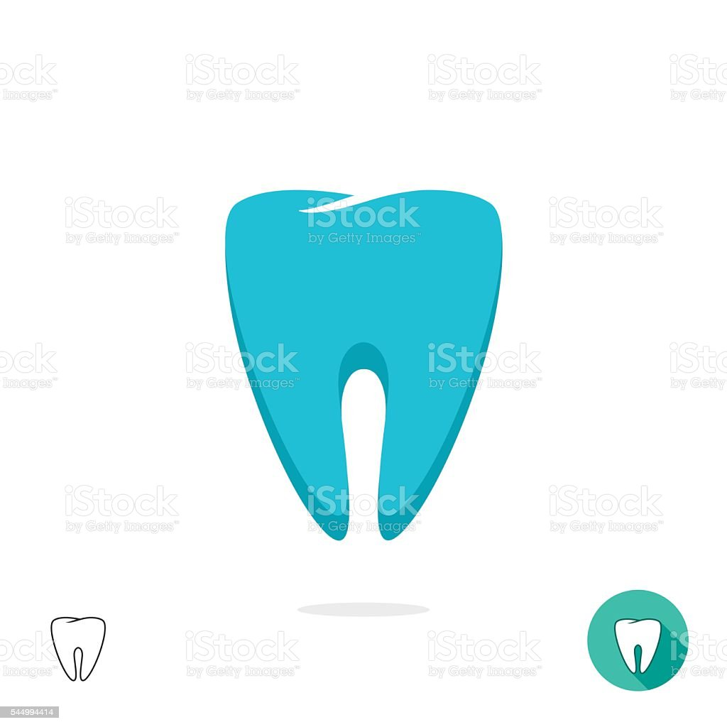 Tooth logo vector symbol isolated, flat outline linear vector art illustration