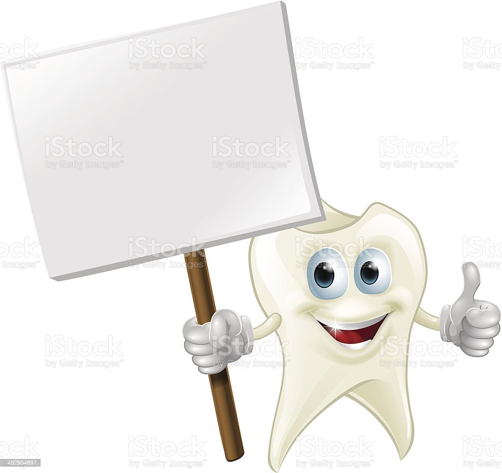 Tooth man holding a sign royalty-free stock vector art