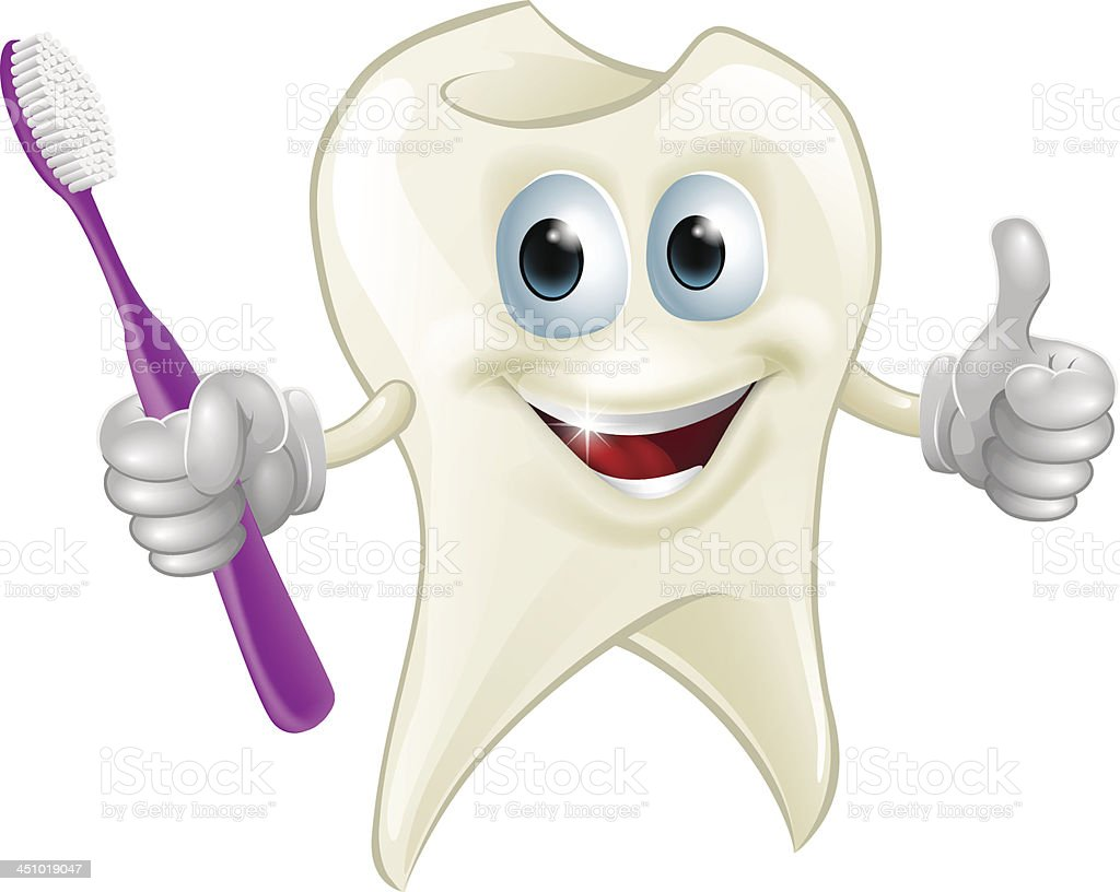 Tooth man holding a toothbrush vector art illustration