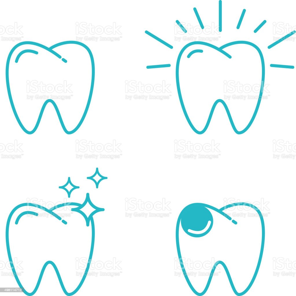 tooth set vector art illustration
