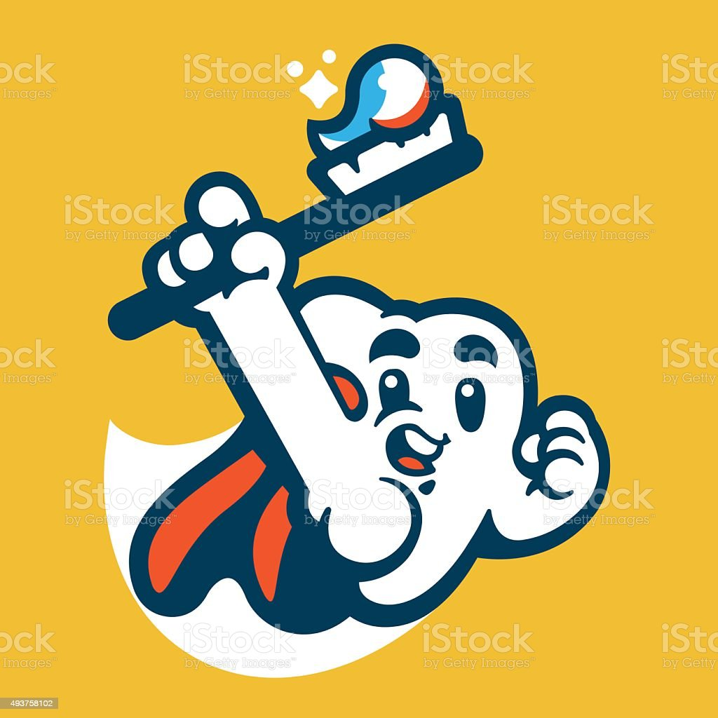 Tooth Super Hero Mascot vector art illustration