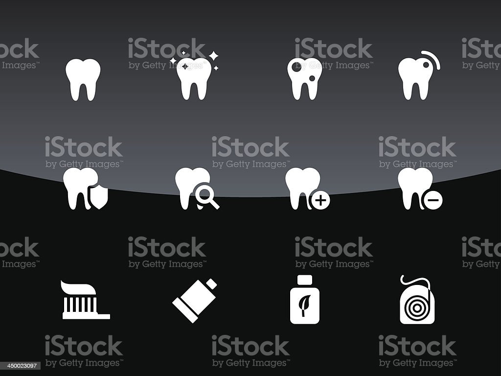 Tooth, teeth icons on black background. vector art illustration