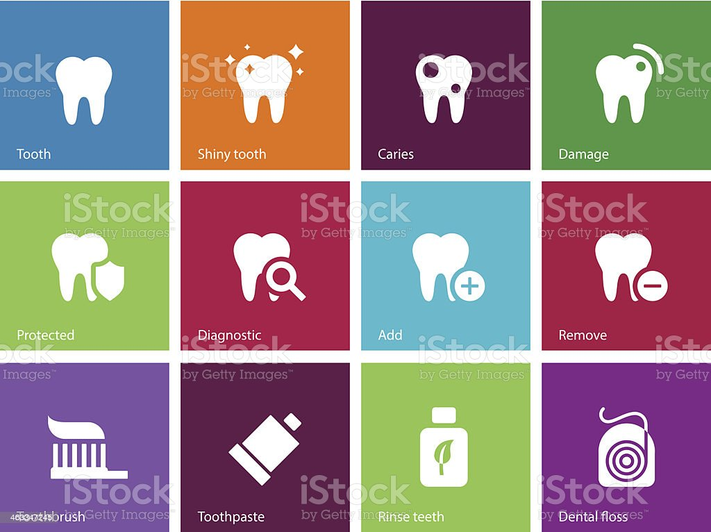 Tooth, teeth icons on color background. vector art illustration