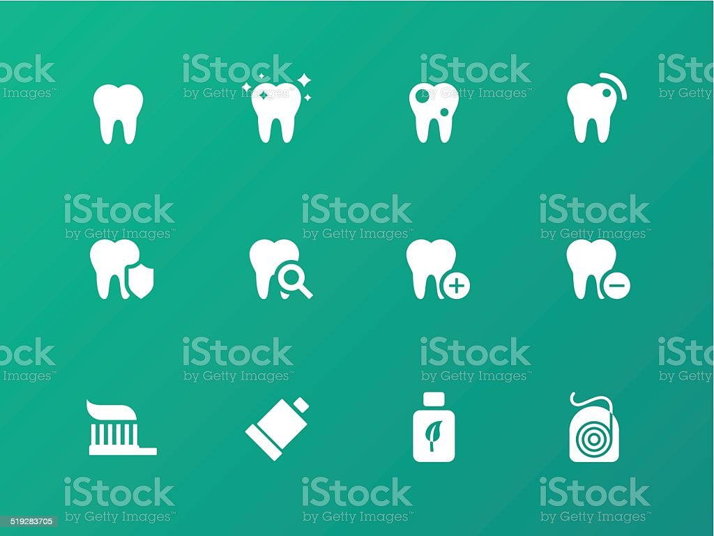 Tooth, teeth icons on green background. vector art illustration