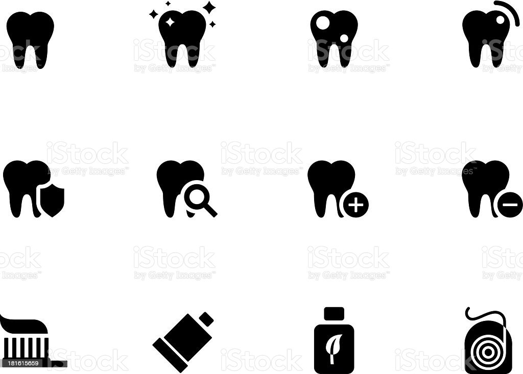 Tooth, teeth icons vector art illustration