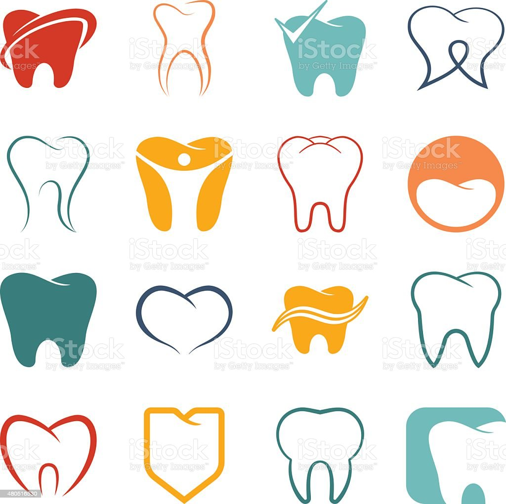 Tooth , teeth vector icons set vector art illustration