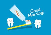 Tooth, toothbrush and toothpaste. Healthy teeth. Good morning