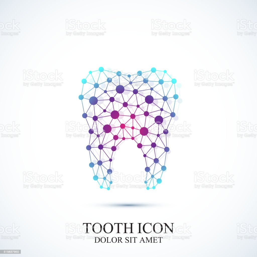 Tooth vector icon template. Medical design. Dentist office icon. Oral vector art illustration
