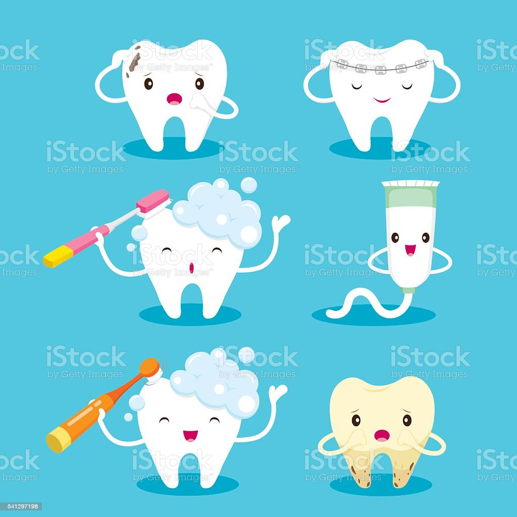 Tooth With Brush And Toothpaste Character Set vector art illustration
