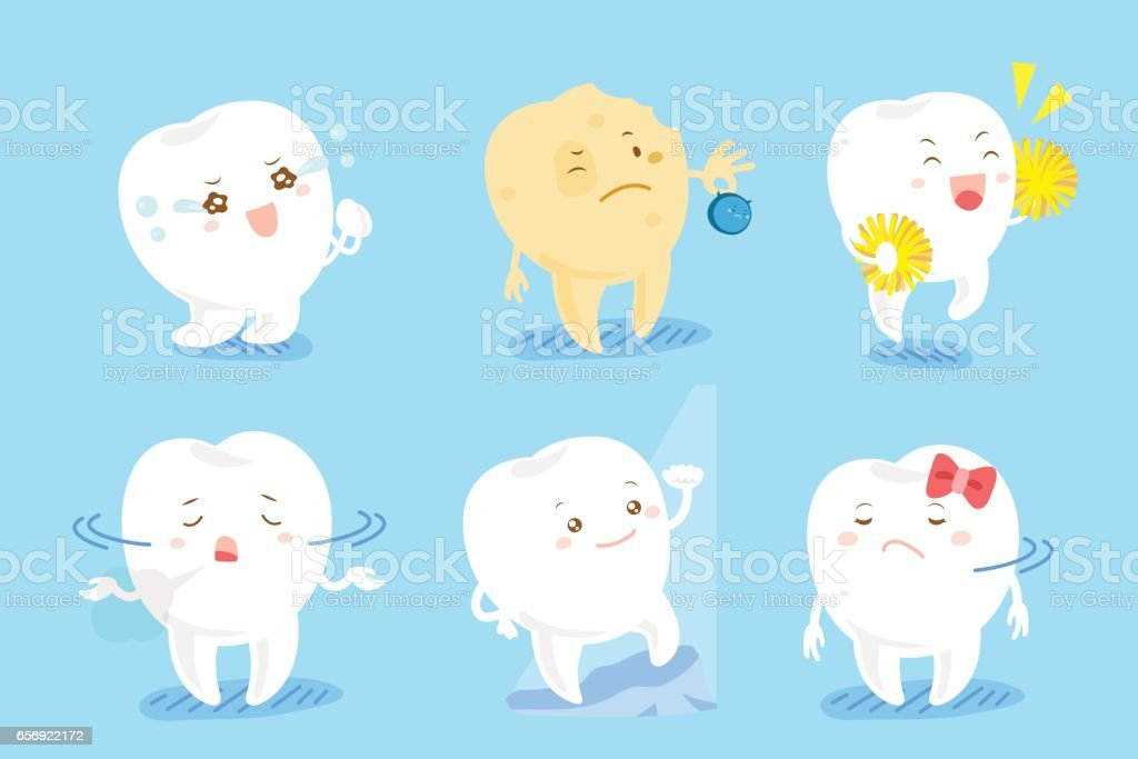 tooth with different emotion vector art illustration