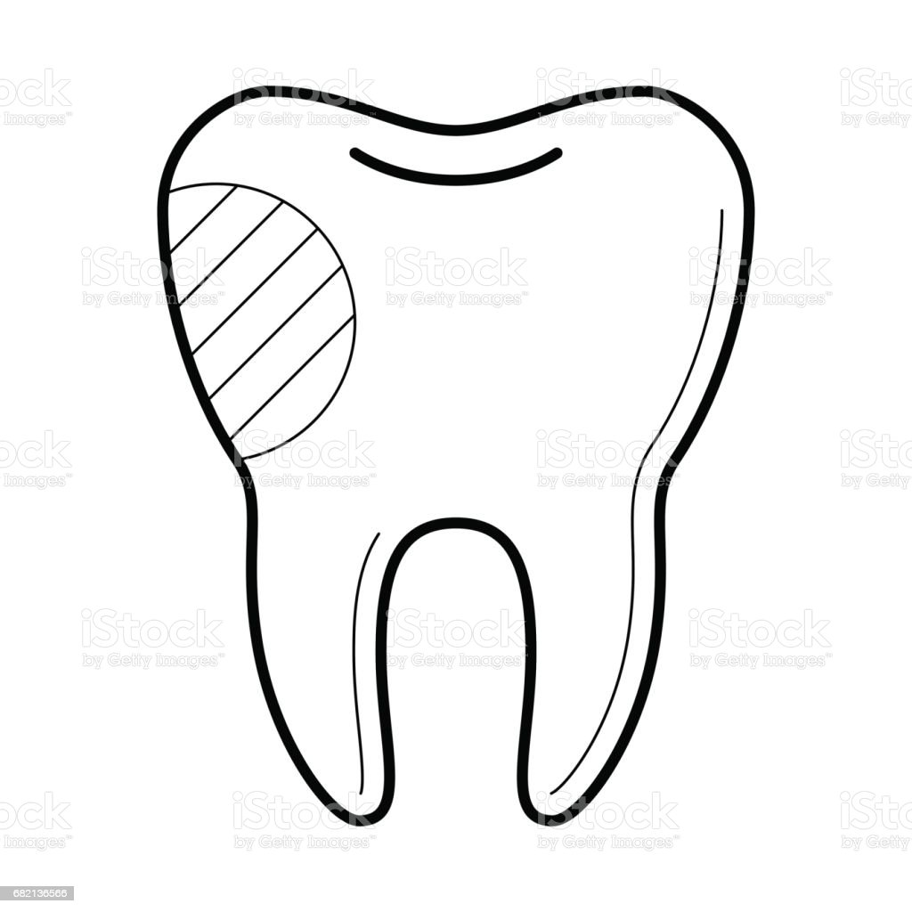 tooth with filling icon vector illustration stock vector art
