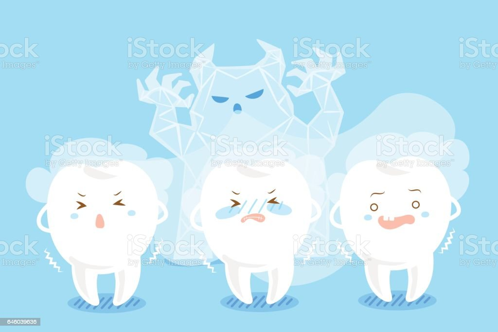 tooth with sensitive problem vector art illustration
