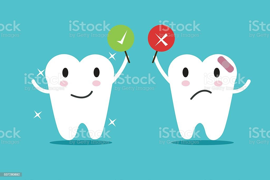 tooth with True and False sign. vector art illustration