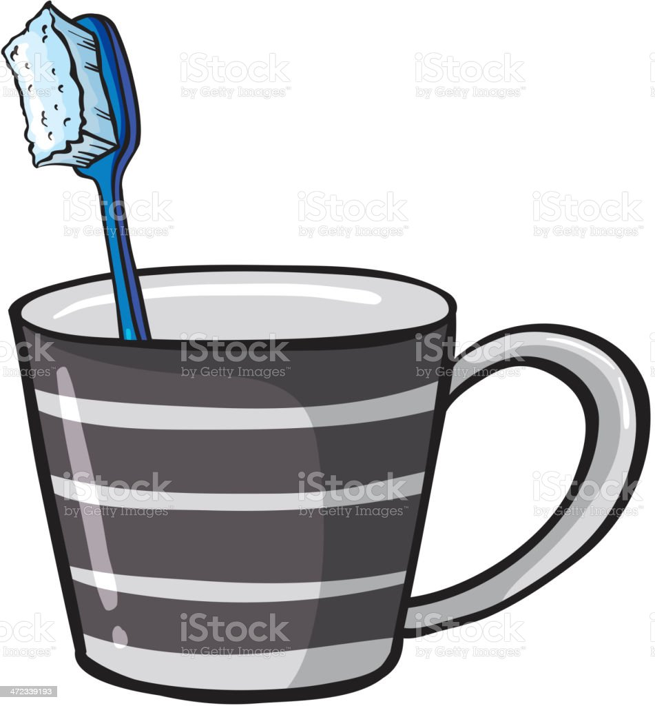 Toothbrush and a cup royalty-free stock vector art