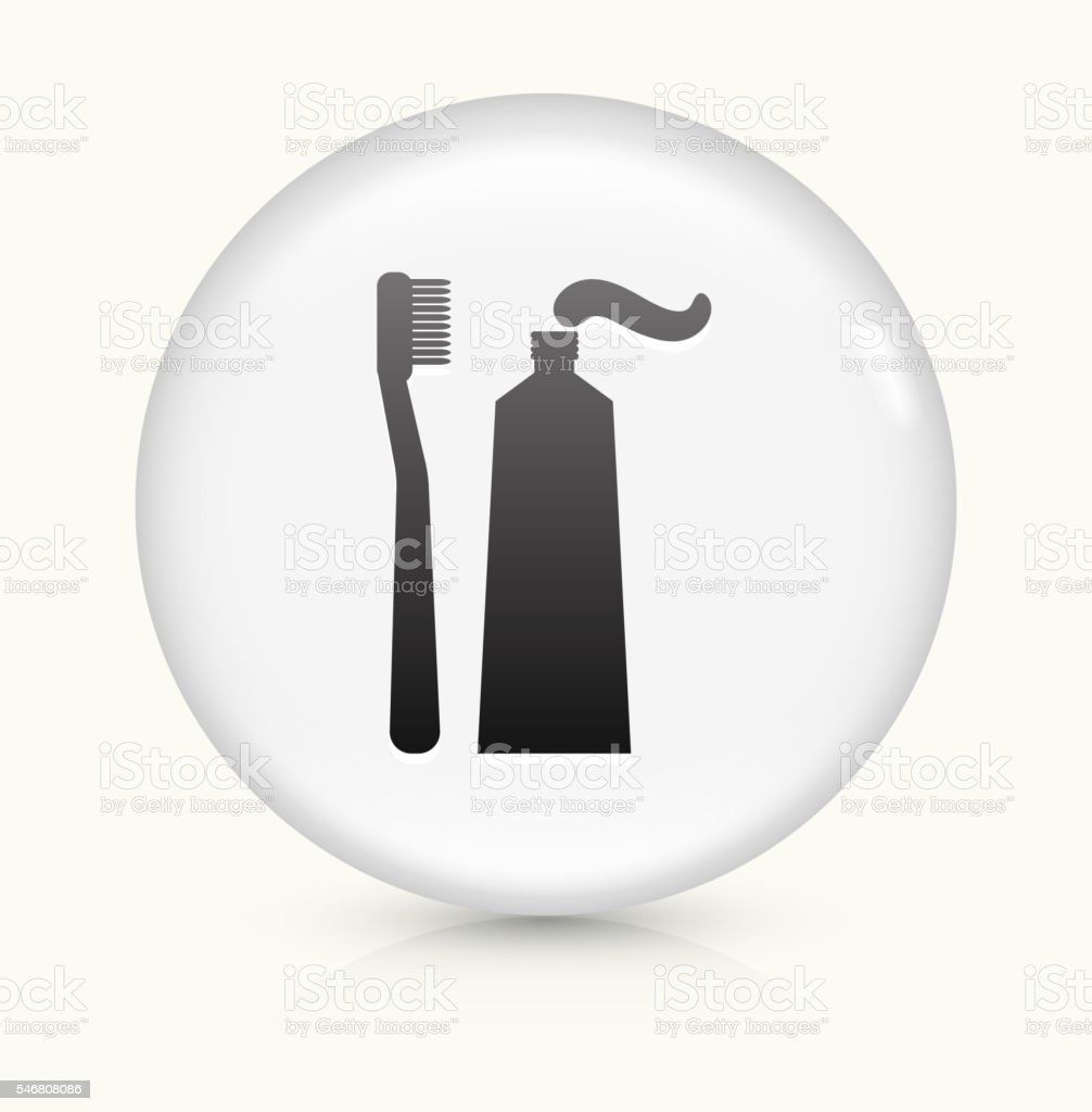 Toothbrush and Paste icon on white round vector button vector art illustration