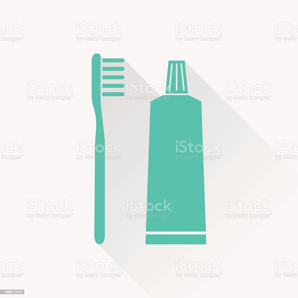 Toothbrush and toothpaste icon vector art illustration