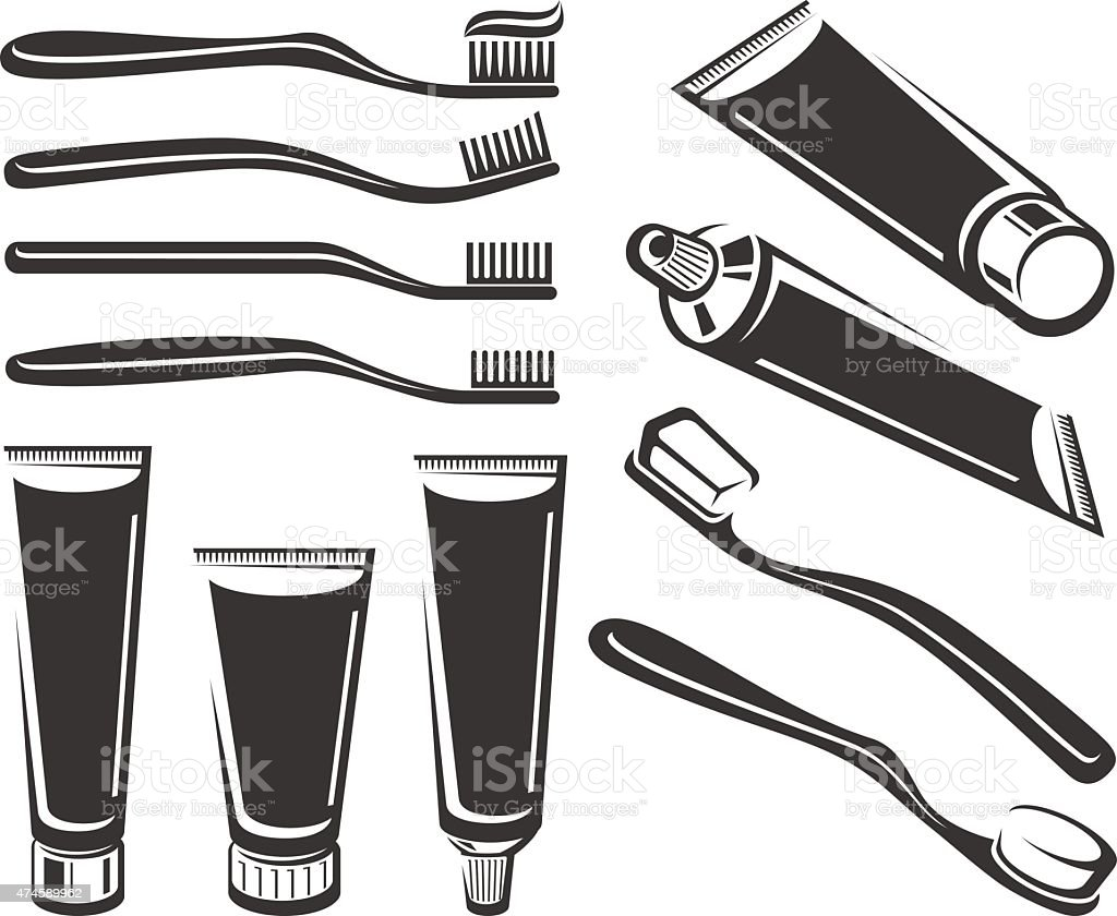 Toothbrush and toothpaste set. Vector vector art illustration