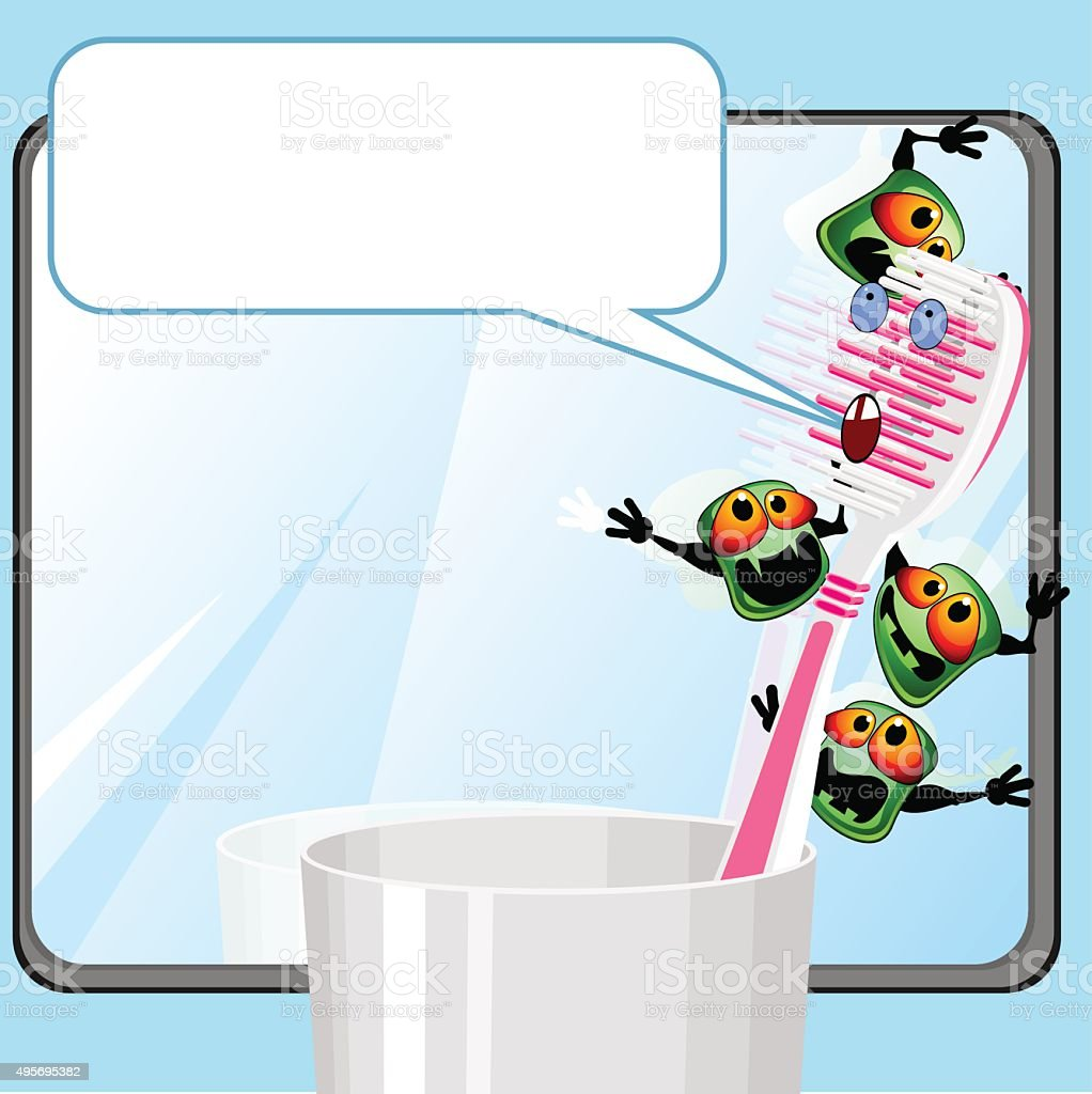 Toothbrush with germs vector art illustration