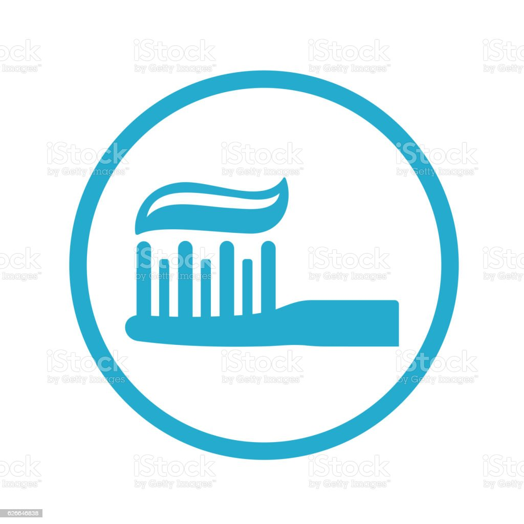Toothbrush with Toothpaste Icon vector art illustration