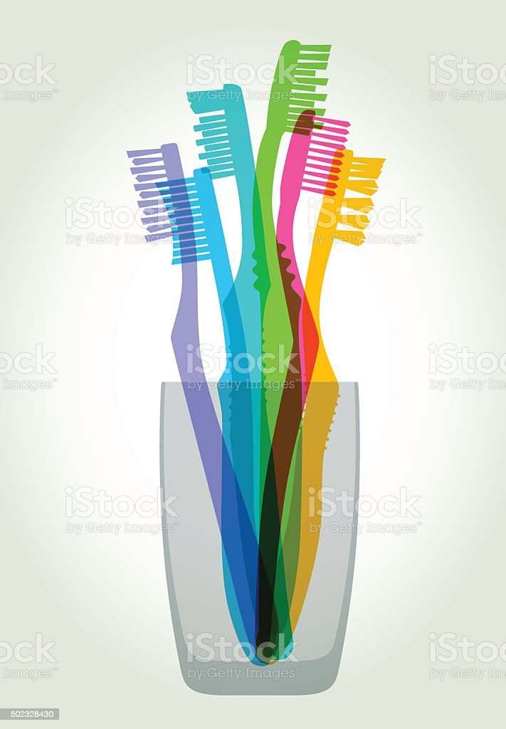 Toothbrushes vector art illustration