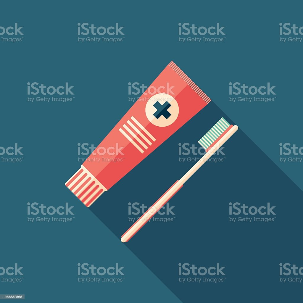 Toothpaste and toothbrush flat square icon with long shadows. vector art illustration