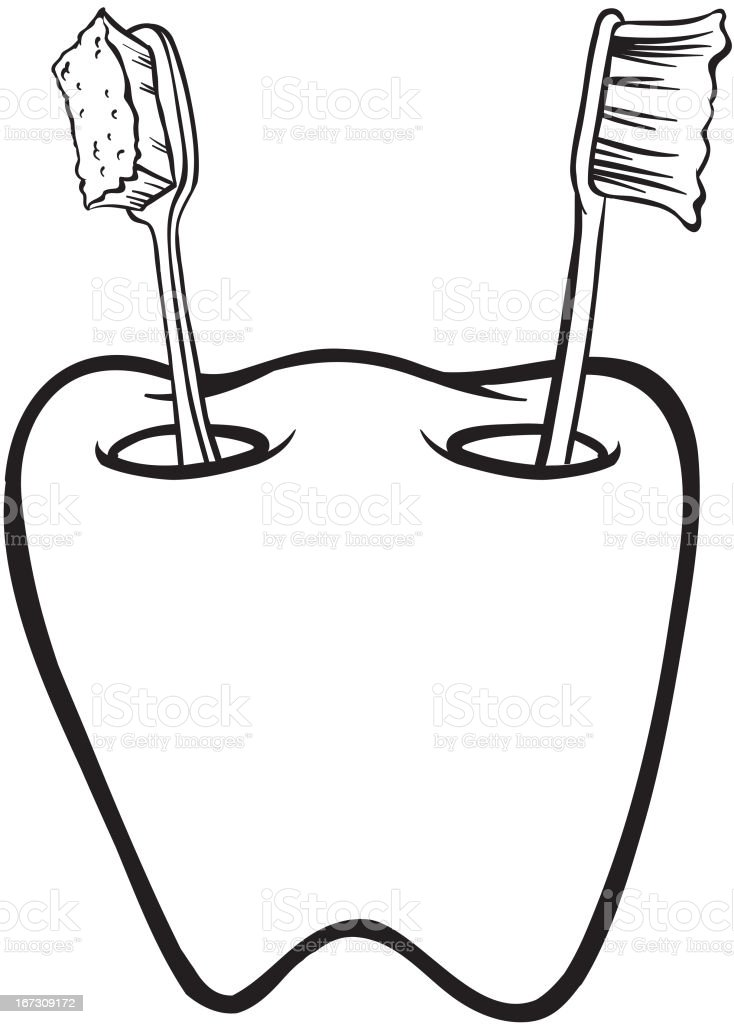 Tooth-shaped toothbrush holder vector art illustration