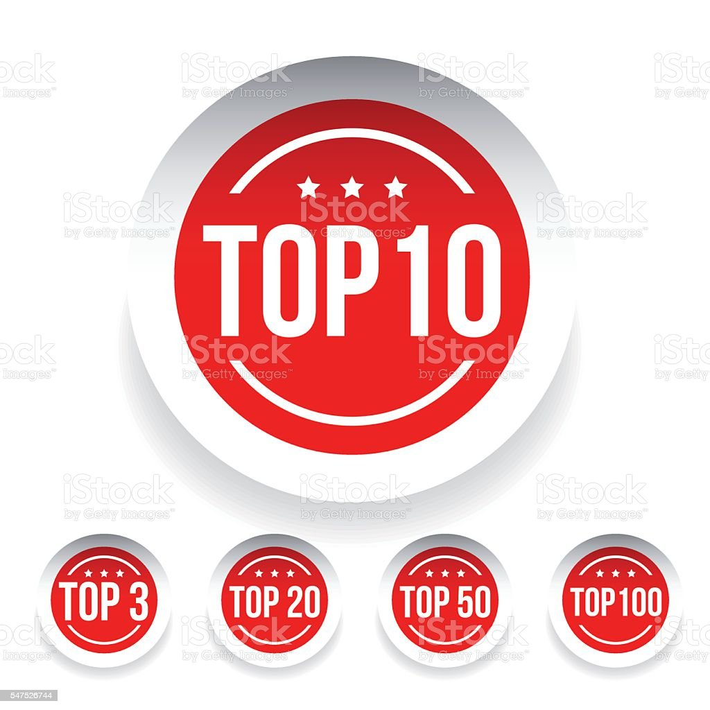 Top 10 label set red vector vector art illustration