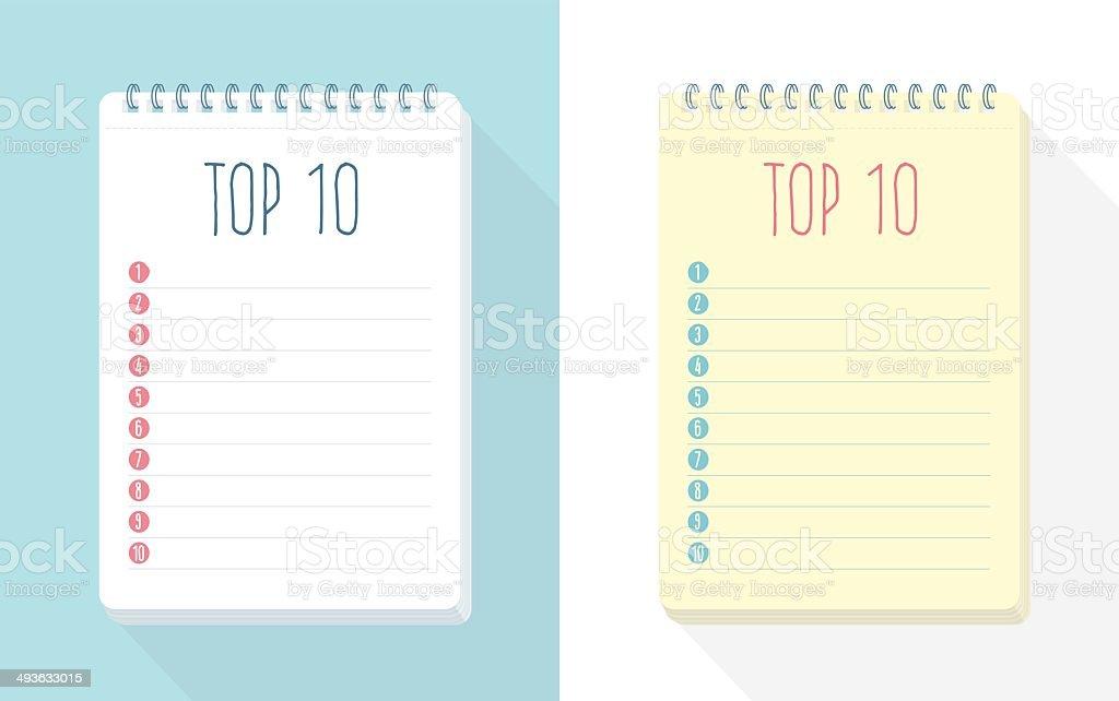 Top 10 List vector art illustration